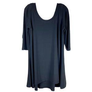SYMPLI  Black High Low Hem Shift Dress Scoop Neck